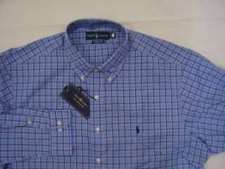 Polo Ralph Lauren Mens Dress Shirt 17.5 34/35 XL Button Up 2 Ply Blue