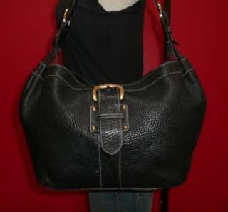 Vintage Dooney & Bourke LARGE Black Leather Hobo Tote Slouch Purse Bag
