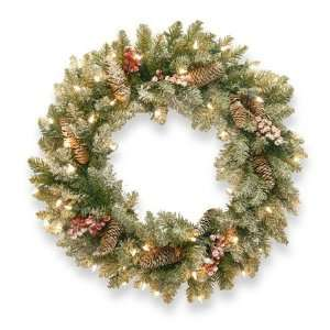 24 Dunhill Fir Wreath w/ Snow, Red Berries, Cones and 50 Snow Lights
