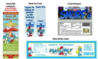Smurfs Smurfette ~ Birthday Party Ticket Invitations, Supplies, and