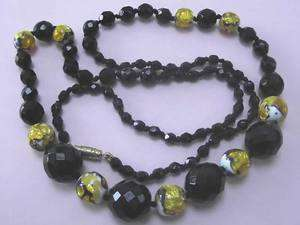 ART DECO FOIL GLASS & FRENCH JET BEAD NECKLACE 1920