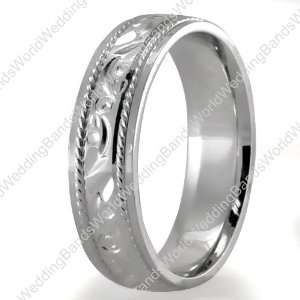 Hand Engraved Wedding Bands,950 Palladium 5mm Wide Jewelry