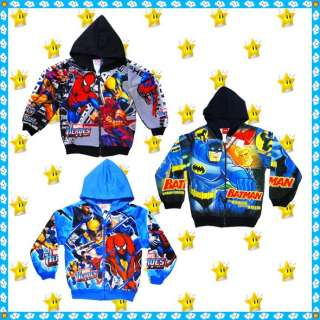 Boys Kids Jacket Hoodie Sweatshirt Cartoon Characters Clothes