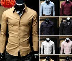 Korea Mens Casual Slim Fit Stylish Dress Shirts 4 Colors XS,S,M,L