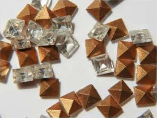 CZECH VTG SQUARE CUT CRYSTAL GLASS RHINESTONES 4 mm(50)