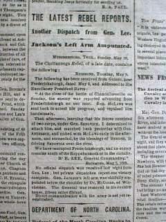 1864 CW newspaper STONEWALL JACKSON WOUNDED Battle of Chancellorsville