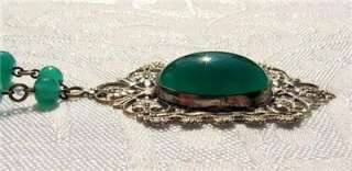 FABULOUS 1930s ART DECO Czech Signed CHRYSOPRASE GLASS NECKLACE