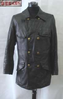 WWII GERMAN WEHRMACHT PANZER TANK OFFICER LEATHER COAT