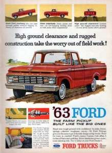 1963 Ford F 100 Custom Cab Pickup Truck Original Color Ad
