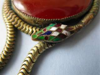 Art Deco Egyptian Revival Carnelian Glass Snake Enamel Necklace