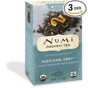 Numi Organic Tea Aged Earl Grey, Full Leaf Black Tea, 18 Count Tea