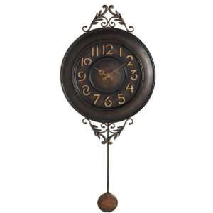 Bronze Art Deco Pendulum Wall Clock with Fleur Accents
