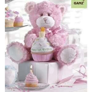Happy First Birthday Teddy Bear with Plush Cupcake   Pink