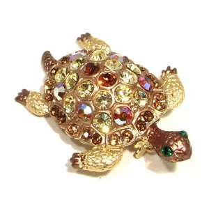 Topaz Austrian Rhinestone Sea Turtle Gold Plated Brooch Pin Jewelry