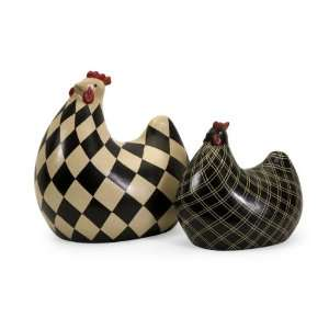 Set of 2 Black and Antique White Checker Board Porcelain Chicken