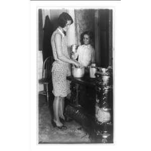 Historic Print (M) Woman and boy by cookstove