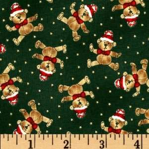 Dolls Christmas Teddy Bears Green Fabric By The Yard Arts, Crafts