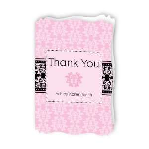 Damask Girl   Personalized Baby Thank You Cards With