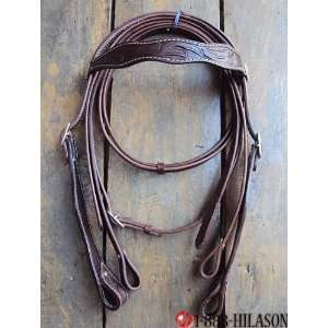 Western Leather Tack Horse Bridle Headstall Reins 010