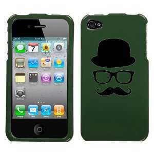 black silhouette of hat glasses mustache design on forest green phone