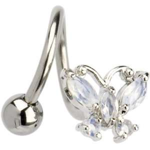 Spiral Twister Butterfly Flare Aurora Gem Belly Ring Jewelry