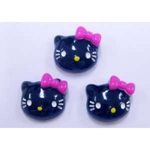 5pc Black Kitty Cat Flat Back Resins Cabochons fa68 Arts