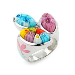 Murano Glass Millefiori Sterling Silver Ring, Size 8 Alan K. Jewelry
