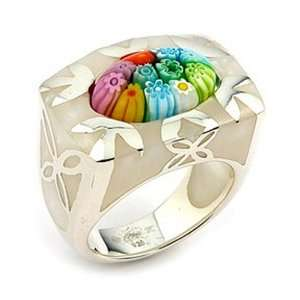 Millacreli Murano Glass Sterling Silver Ring, Size 6 Alan K. Jewelry