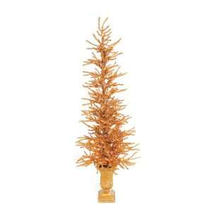 Set of 2 Pre Lit Gold Potted Tinsel Twig Christmas Trees 4