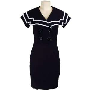 Retro Sailor Navy Blue Nautical Rockabilly Dress L