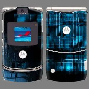Motorola V3 Lighted Blue Boxes Skin 22007