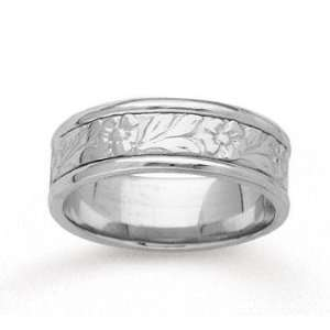 14k White Gold Floral Style Hand Carved Wedding Band Jewelry
