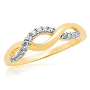10k Yellow Gold Diamond Infinity Twist Ring (1/6 cttw, I J