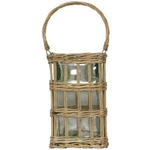 Brown Willow Basket with Large Glass Cube Candle Shade 8Sq x 12.75H