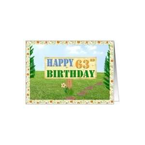 Happy 63rd Birthday Sign on Footpath Card Toys & Games