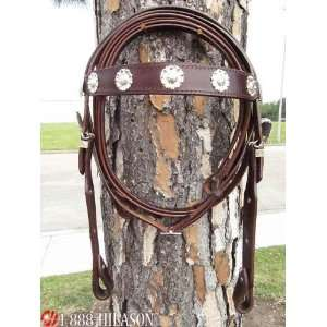Western Draft Leather Tack Horse Bridle Headstall Reins