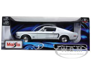 model car of 1968 Ford Mustang CJ Cobra Jet White die cast car model