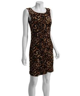 Calvin Klein brown leopard print knit jersey ruched shift dress
