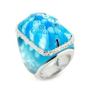 Murano Grand Collection Faceted Light Blue Rectangular Glass Dome Ring