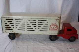 Old Pressed Steel Toy 14 Wheel Livestock Semi Truck 1950s 60s Ford