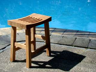 Teak Wood Curved Seat Shower Bath Spa Stool Bench Outdoor Garden Patio