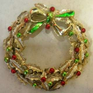 Vintage Holly Christmas Wreath Pin Brooch Signed